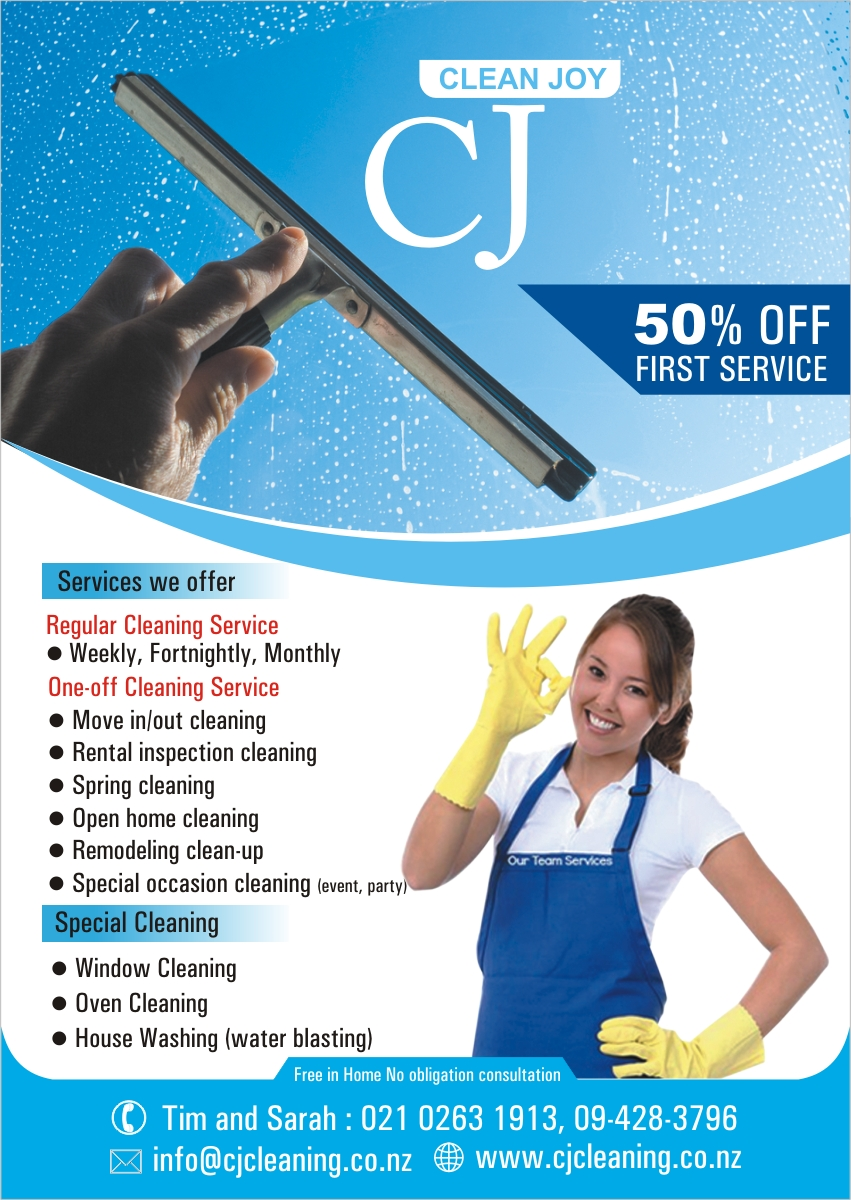 modern feminine flyer design for cj cleaning services by flyer design by lance graphic designer for flyer design design 4866435