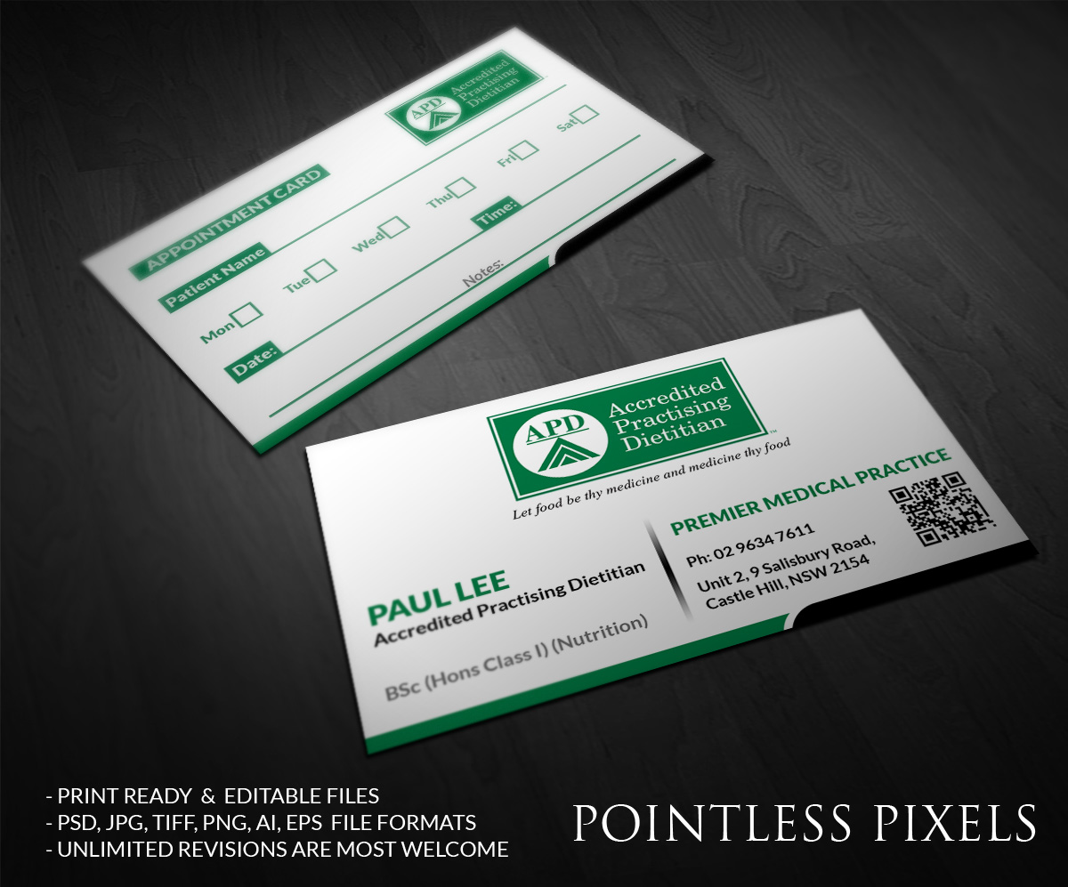Business card design for paul lee by pointless pixels india design business card design by pointless pixels india for private practice dietitian needs a businessappointment reheart Image collections