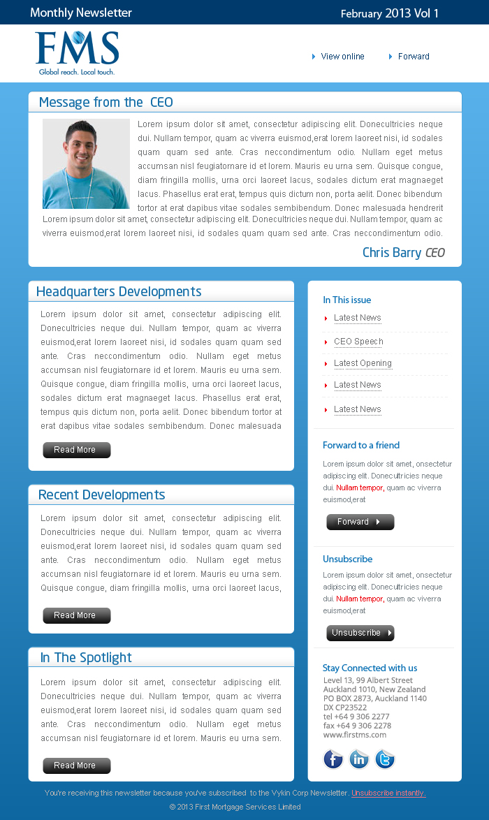 Bold modern newsletter design for fms by mr design for Modern newsletter design