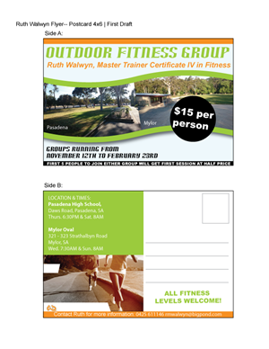Flyer Design by Alycia Marie - Outdoor group fitness training - Ruth Walwyn Pe ...