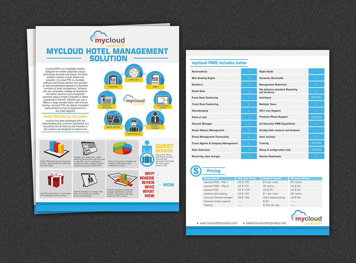 hospitality brochure design for mycloud