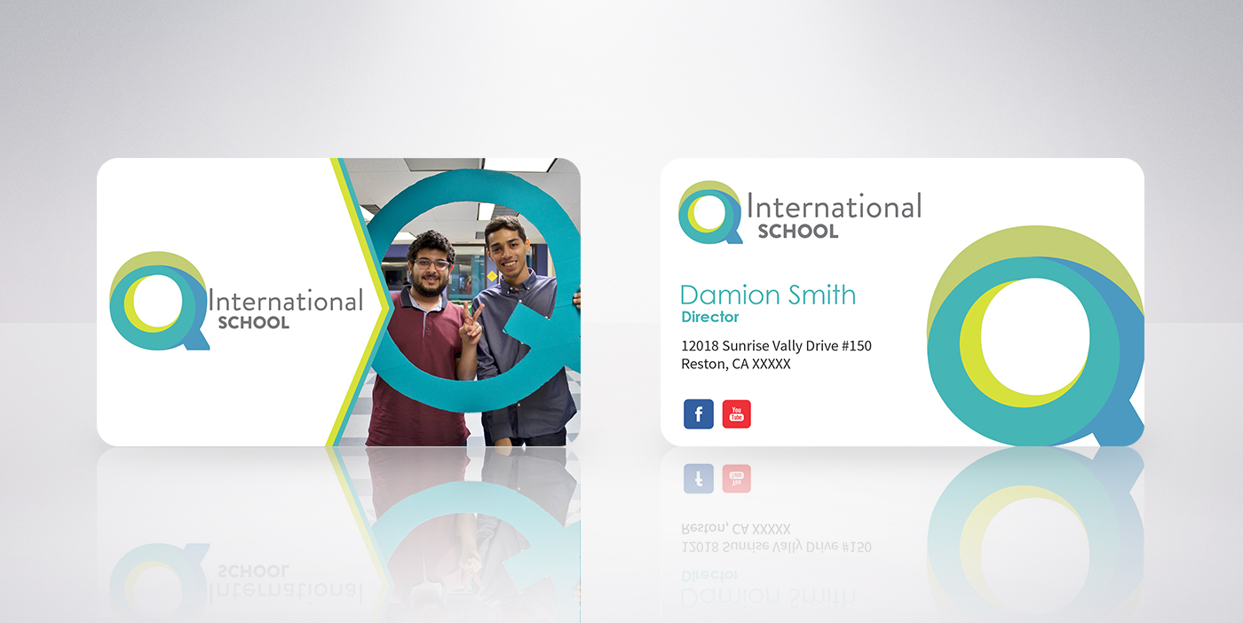 Modern, Playful Business Card Design for Q International School by ...