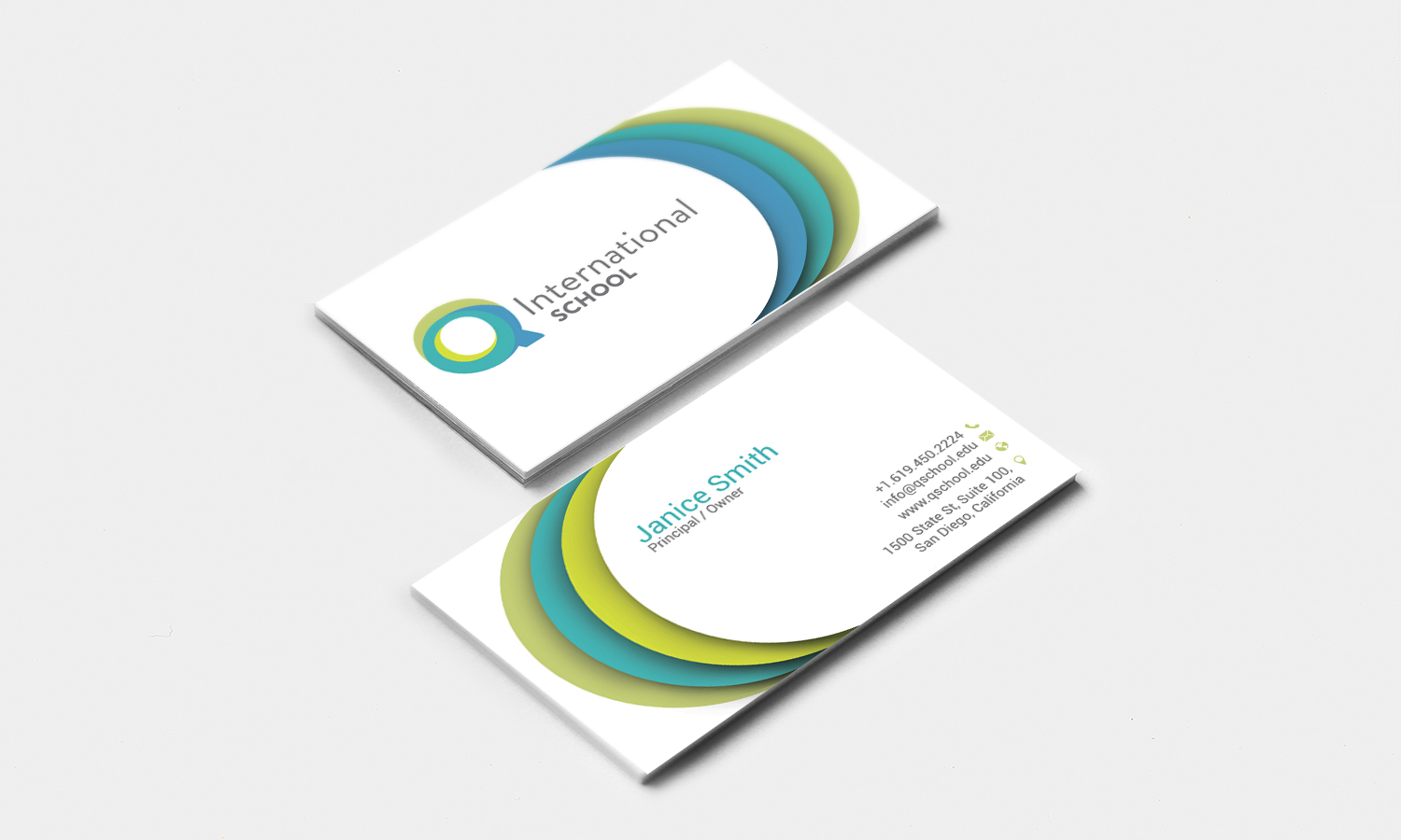 Modern playful school business card design for q international business card design by stylez designz for q international school design 4952973 reheart Image collections