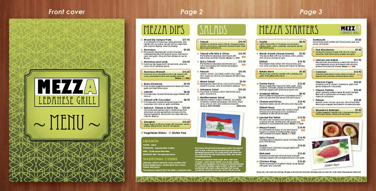 Bold traditional restaurant menu design for a company by
