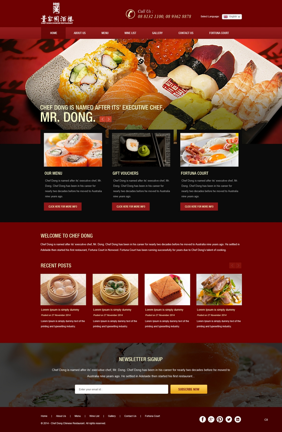 Professional elegant restaurant web design for aqua it
