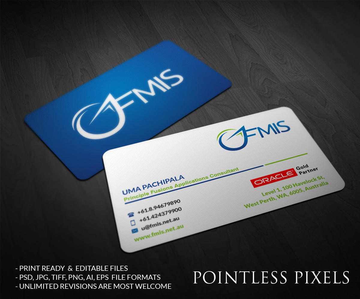 Business Card Design for UMA PACHIPALA by Pointless Pixels India ...