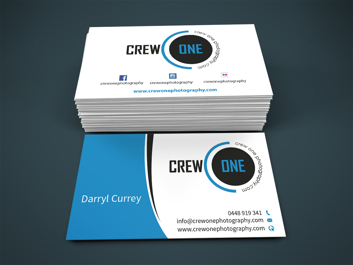 Masculine bold business business card design for crew one business card design by creativmindsja for crew one photography design 5060391 reheart Image collections