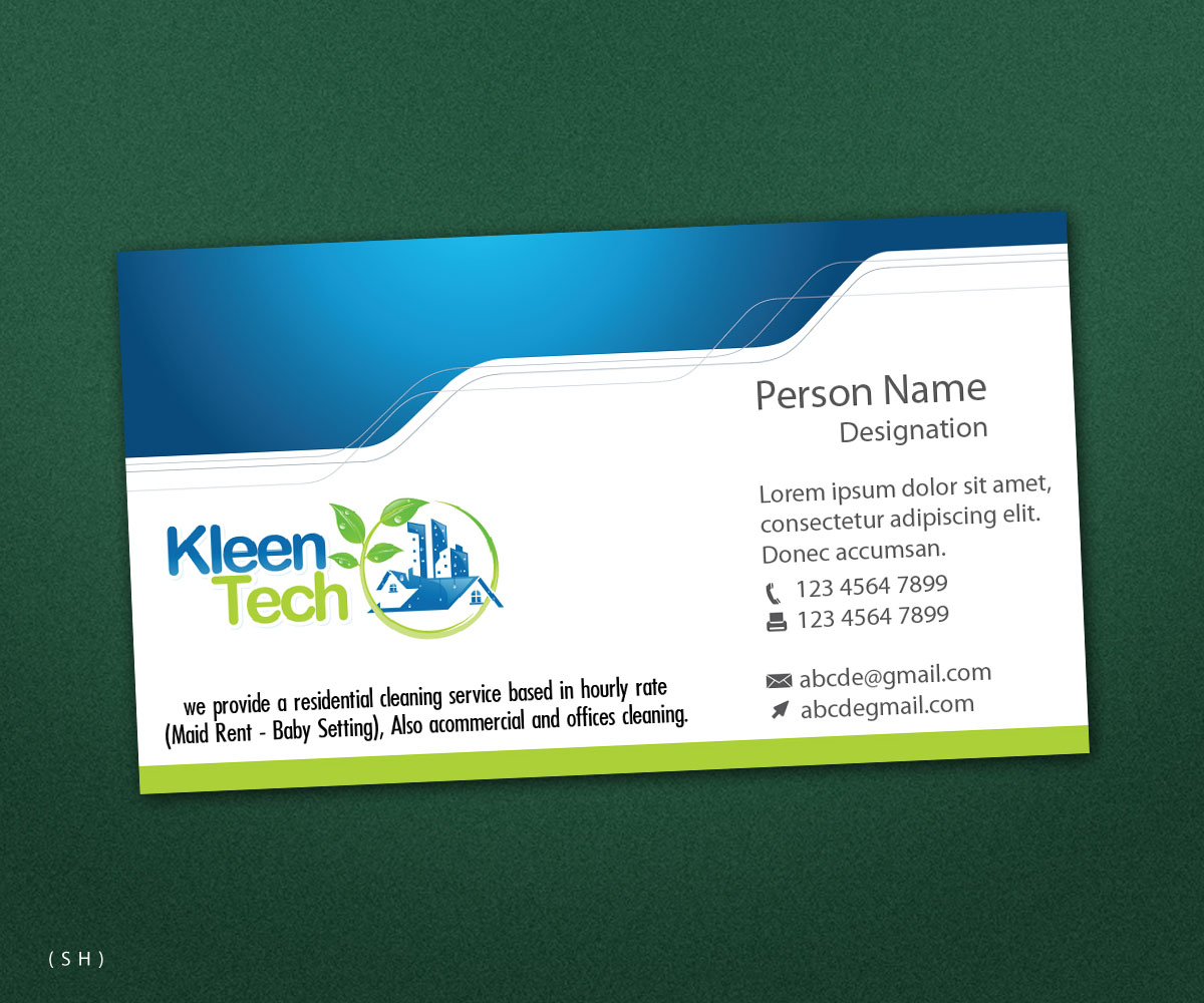 Elegant modern residential business card design for a for Commercial cleaning business cards