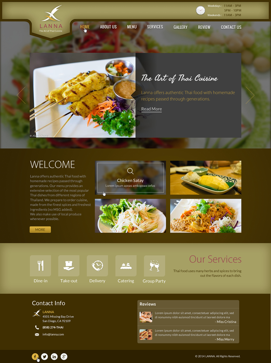 Serious modern restaurant web design for thumb frenzy