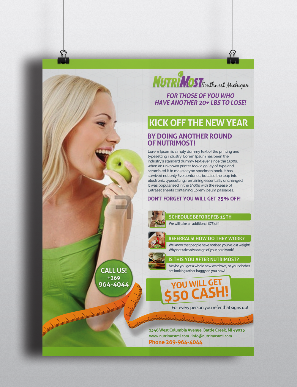 playful colorful weight flyer design for custom fat loss centers