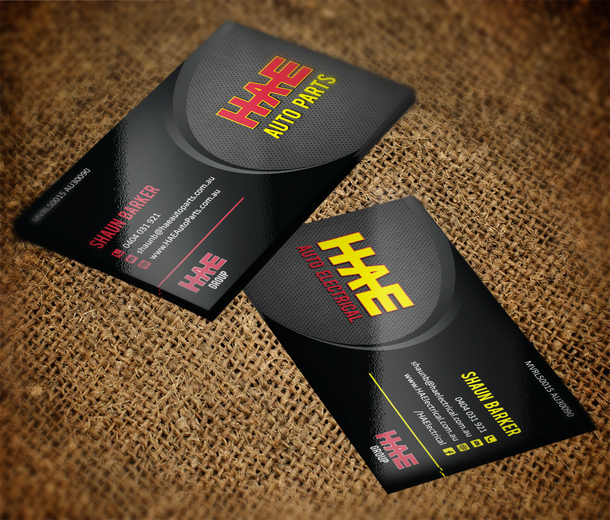 Serious modern business card design for hunter auto electrical by business card design by mt for hae auto electrical auto parts needs an high end reheart Choice Image