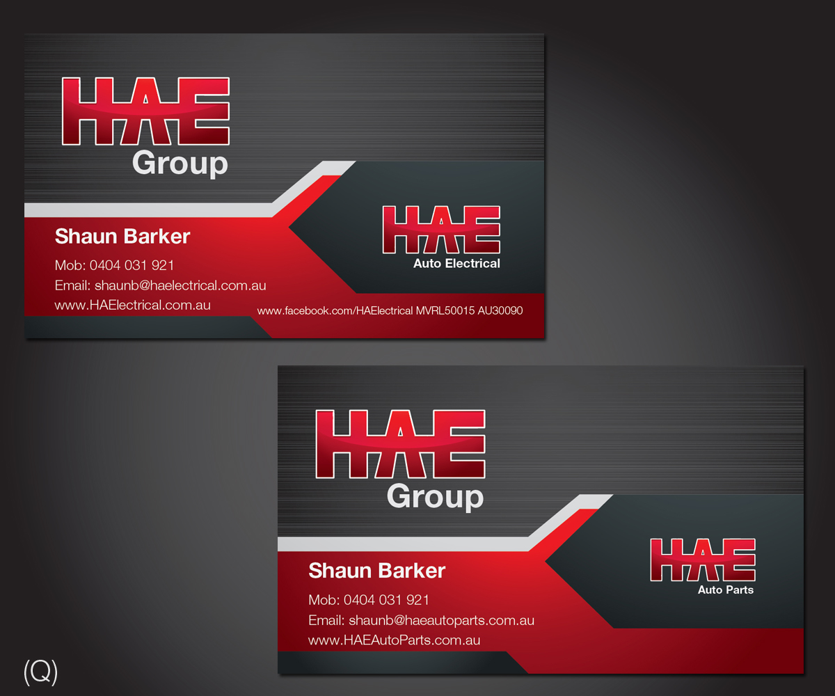 Serious modern business card design for hunter auto electrical by business card design by esolbiz for hae auto electrical auto parts needs an high end magicingreecefo Images