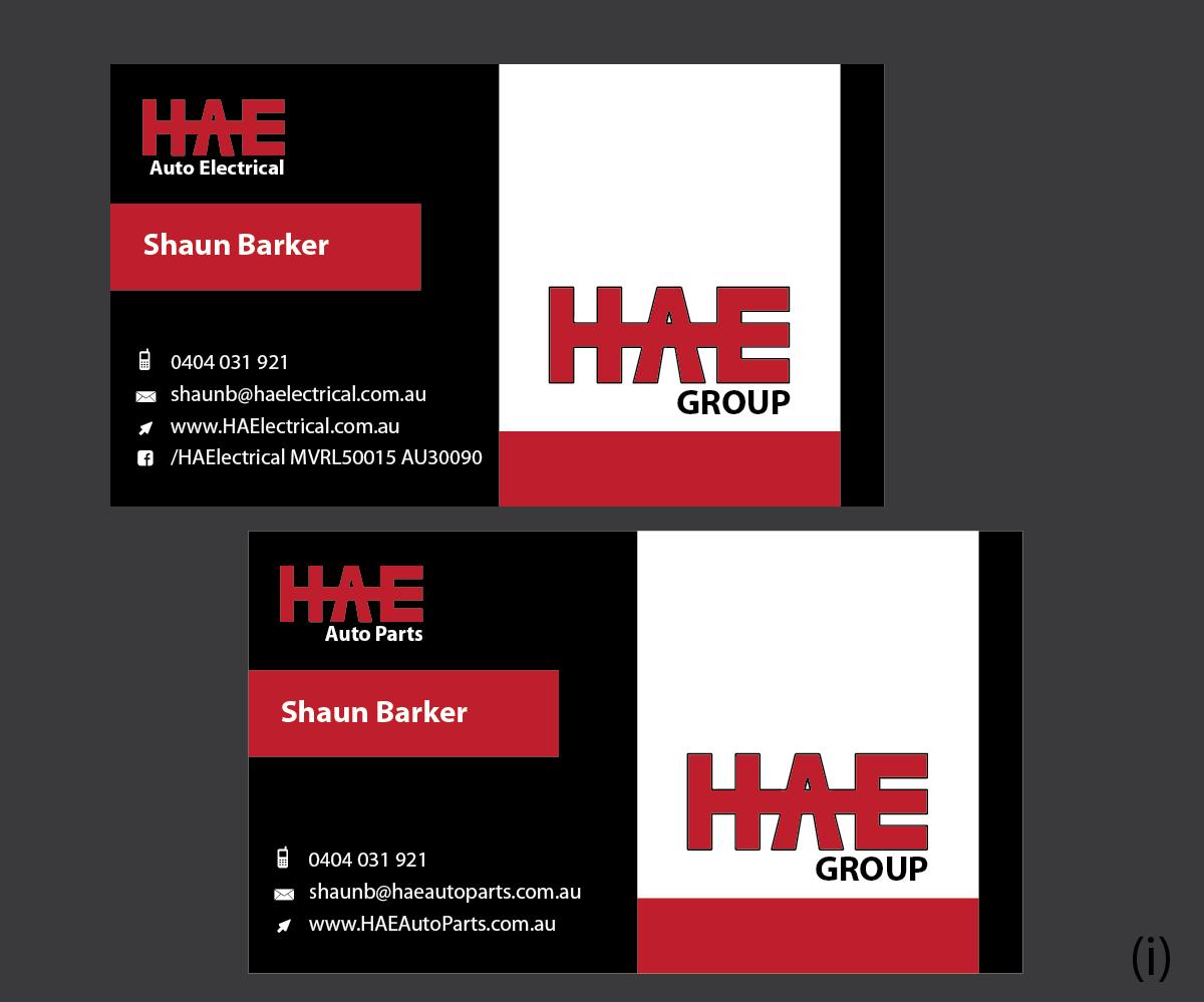 Serious modern business business card design for hunter auto business card design by esolbiz for hunter auto electrical design 4973041 reheart Gallery