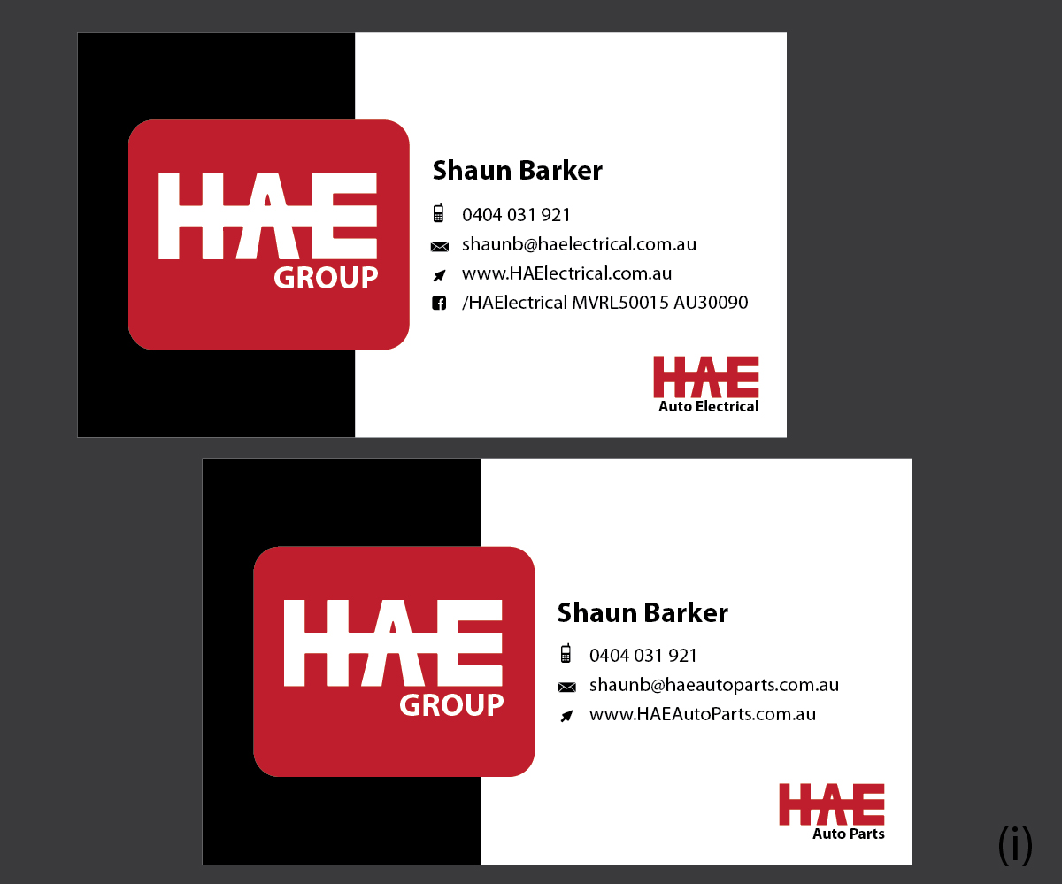 Serious modern business card design for hunter auto electrical by business card design by esolbiz for hae auto electrical auto parts needs an high end reheart Choice Image