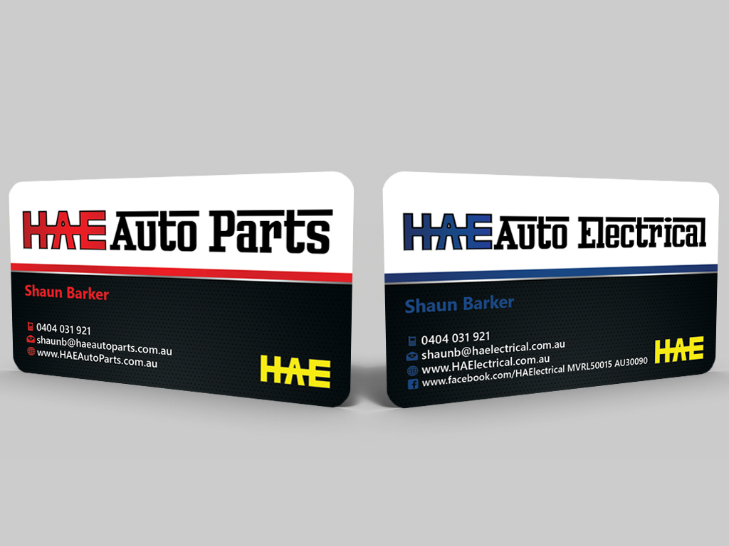 Serious modern business card design for hunter auto electrical by business card design by hardcore design for hae auto electrical auto parts needs an high reheart Choice Image