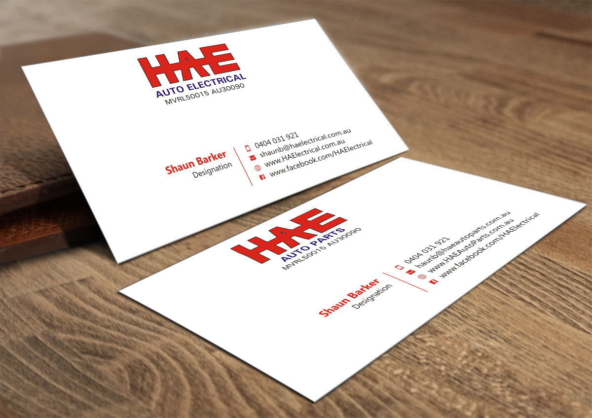Serious modern business business card design for hunter auto business card design by poonam gupta for hunter auto electrical design 4966949 reheart Gallery