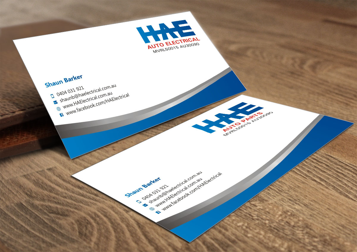 Serious modern business card design for hunter auto electrical by business card design by poonam gupta for hae auto electrical auto parts needs an high reheart Choice Image