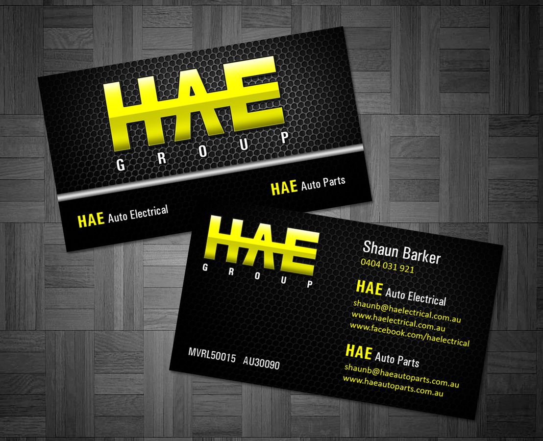 Serious modern business business card design for hunter auto business card design by owaisias for hunter auto electrical design 4968226 reheart Gallery