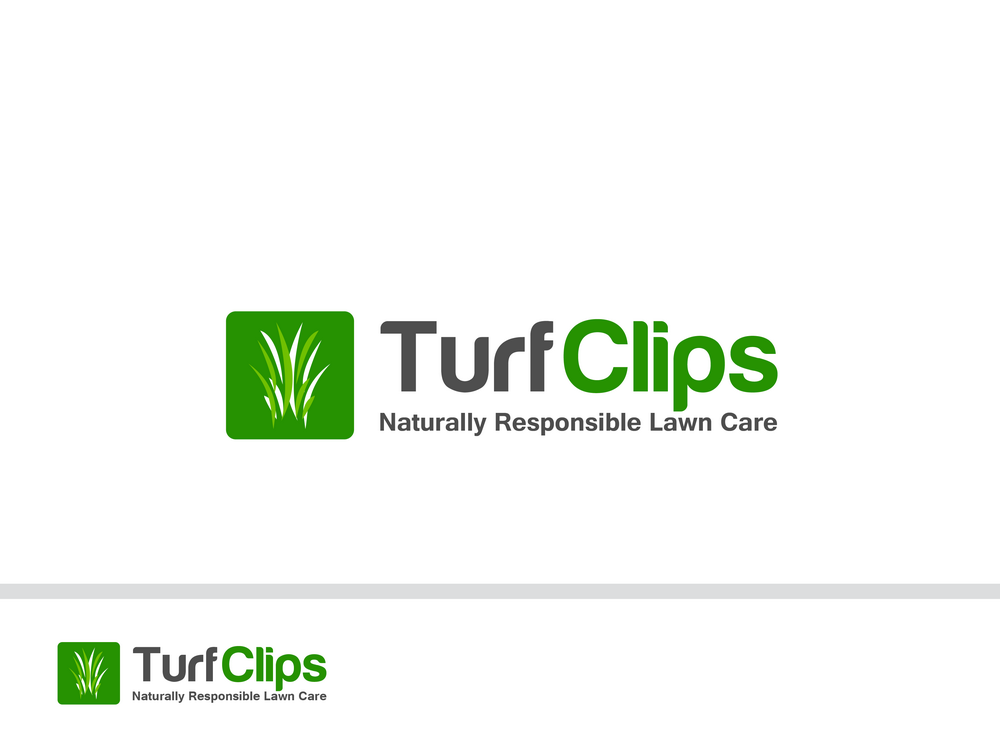 lawn care logo design for business name turf clips tagline