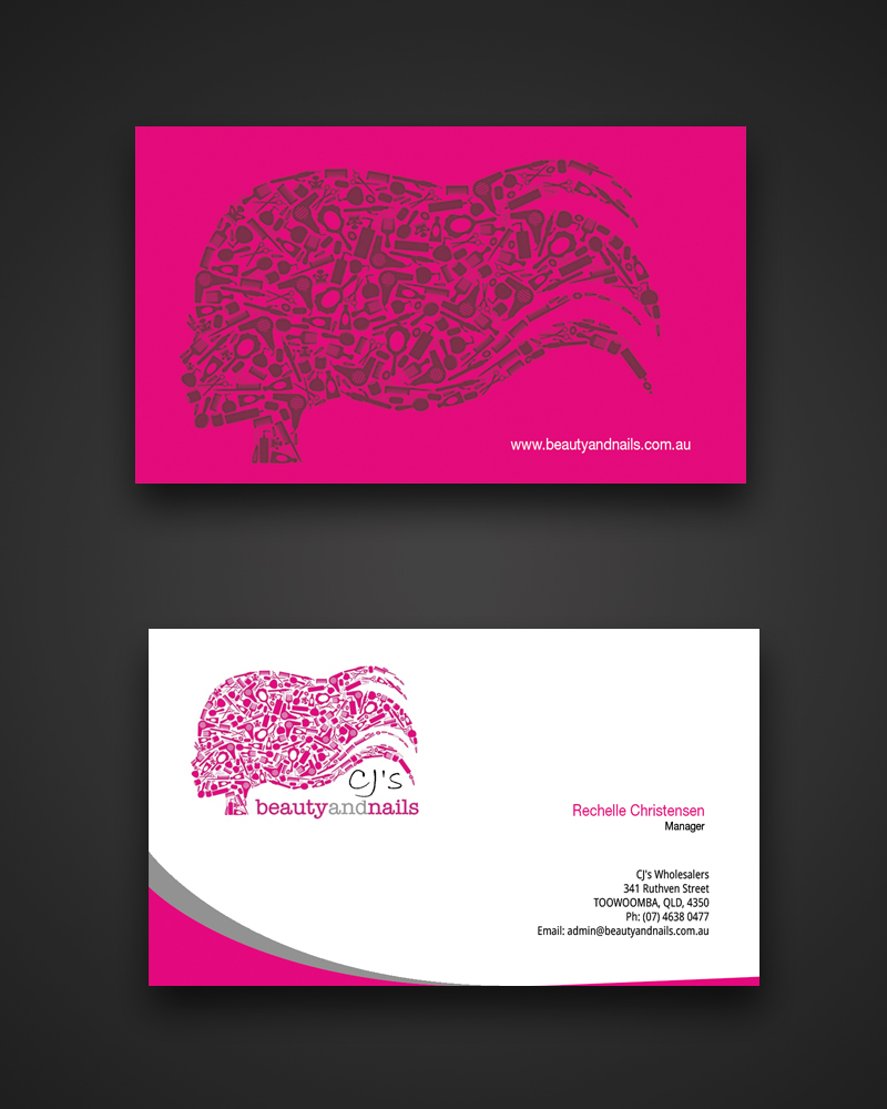 Business card design for lauren schall by satyajit sil creations business card design by satyajit sil creations for a hair beauty and nails wholesalers needs reheart Images