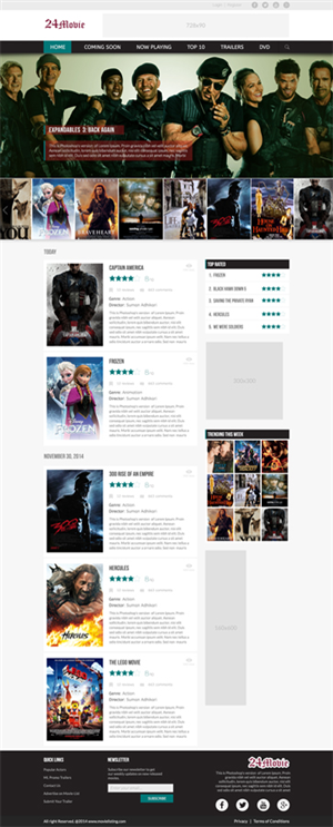 Web Design by Sumanjung - movie listing website