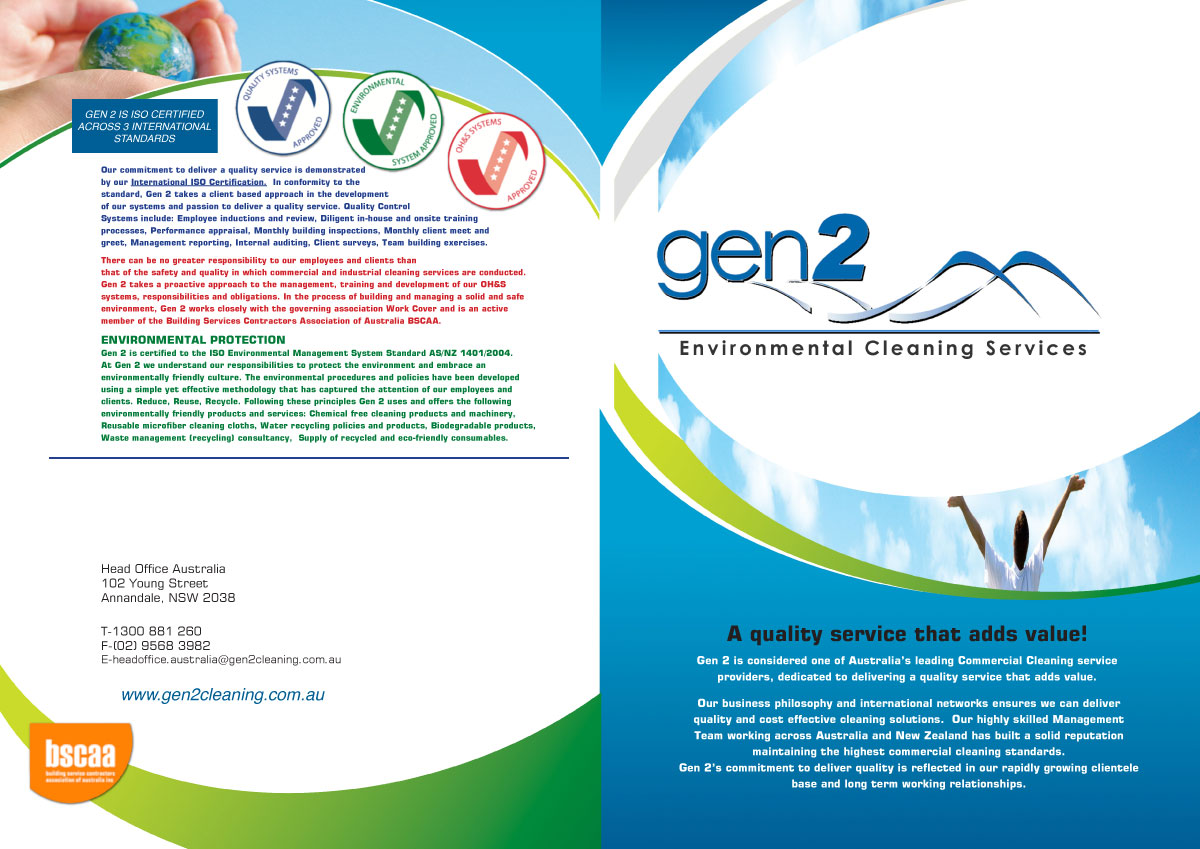 modern professional professional service brochure designs for a brochure design design 250657 submitted to gen 2 commercial cleaning company overview