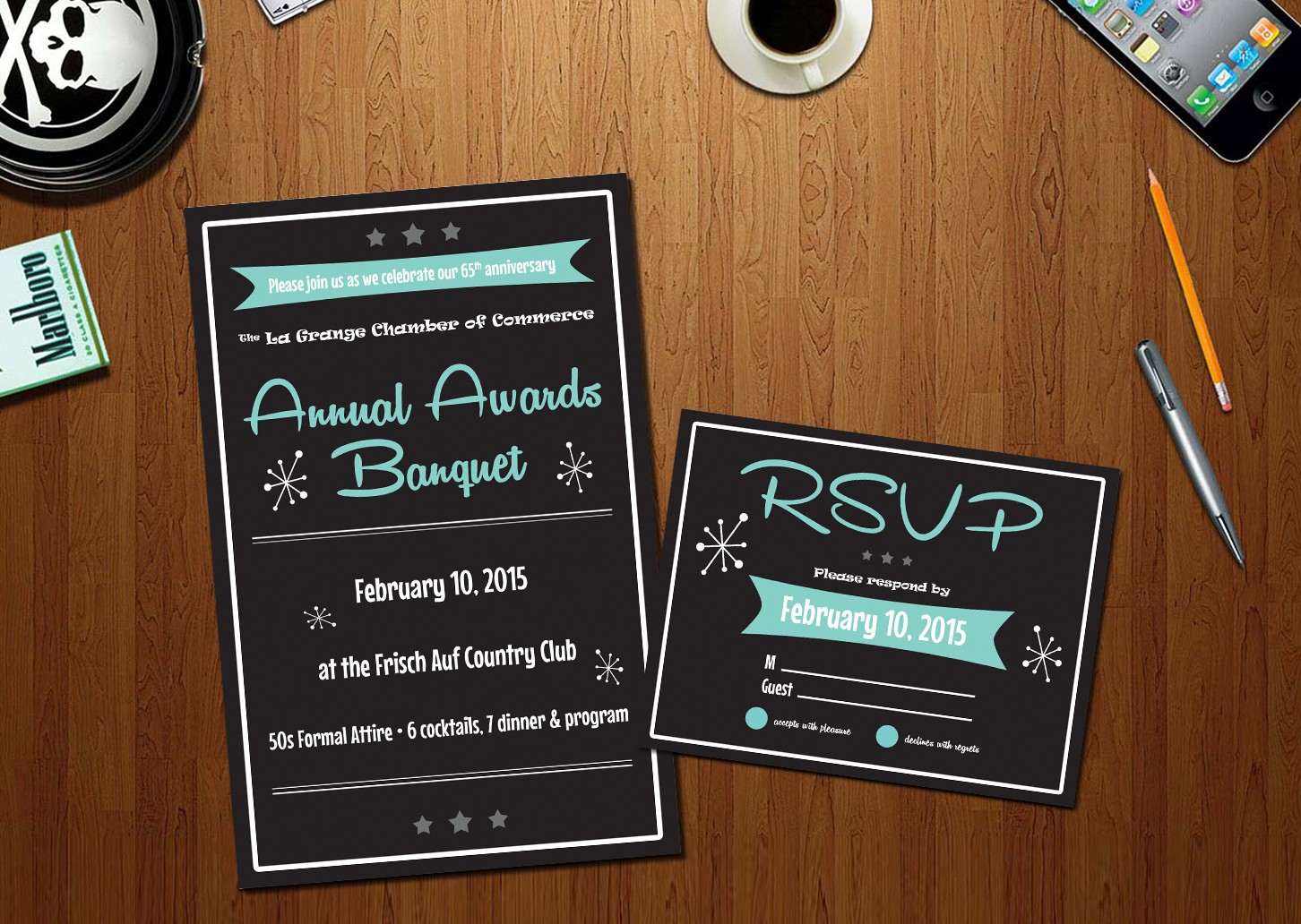 serious traditional business invitation design for a company by