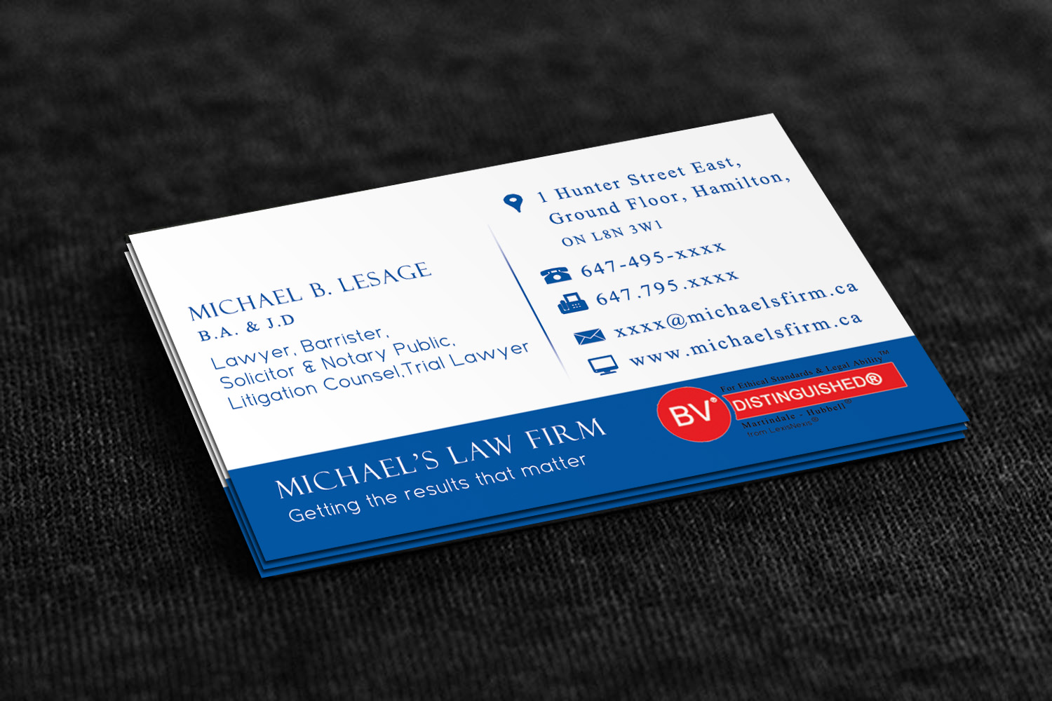 Elegant playful business business card design for michaels law business card design by stream graphics for michaels law firm design reheart Gallery