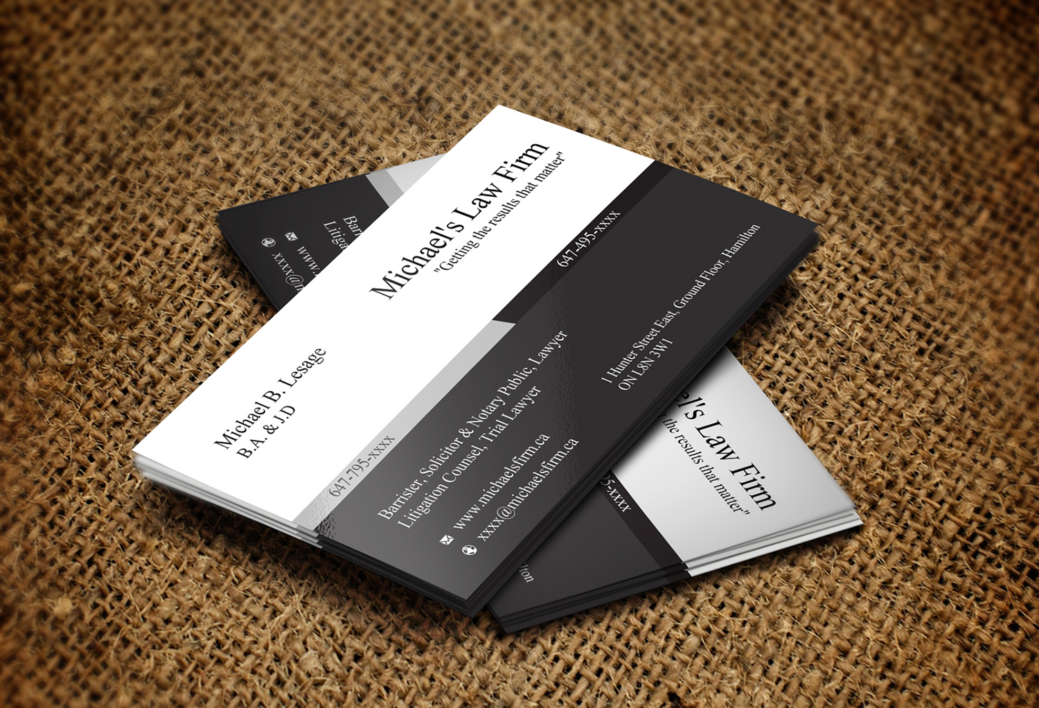 Elegant, Playful, Business Business Card Design for Michael\'\'s Law ...