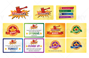 Graphic Design by Pinky  - Logo and 2 card faces for a card-based party game