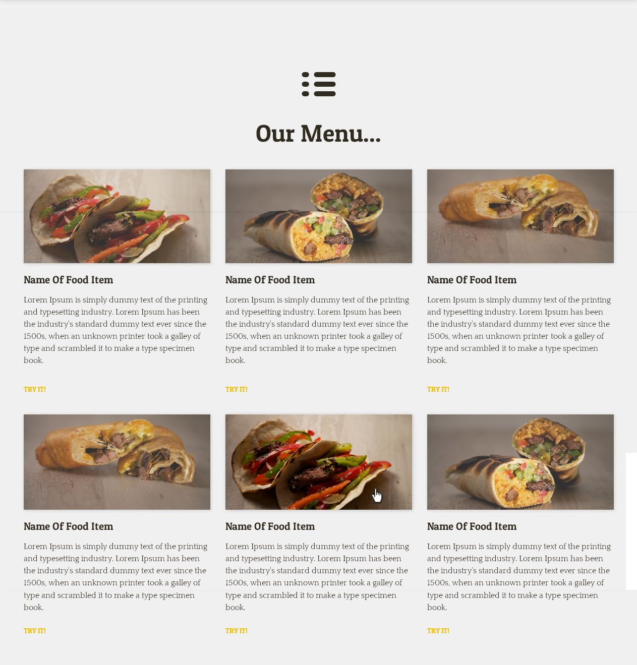 Serious modern restaurant web design for a company by