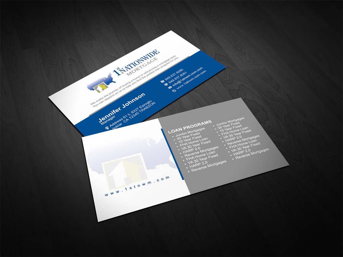 Business Business Card Design for 1st Nationwide Mortgage