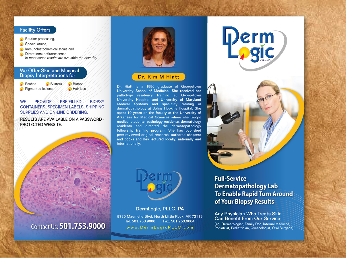 modern professional shipping brochure design for dermlogic pllc