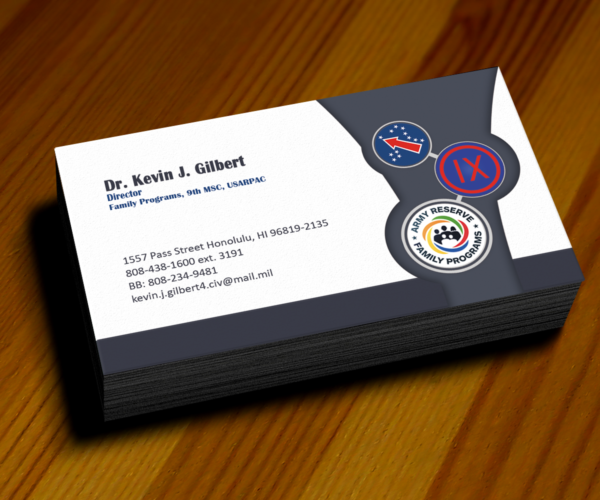 Modern upmarket training business card design for 9th mission business card design by sanrell for 9th mission support command us army reheart Images