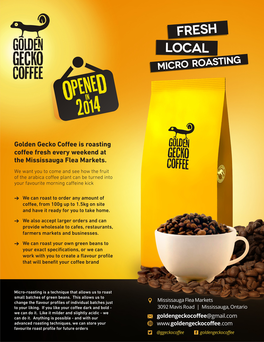 Bold Modern Flyer Design For Golden Gecko Coffee By