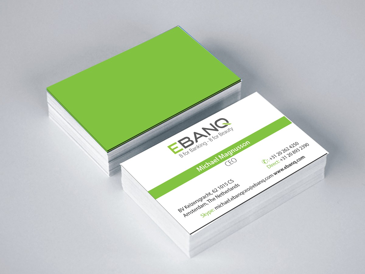 Modern professional financial business card design for ebanq business card design by chandra for ebanq fintech sl design 5106835 reheart Image collections