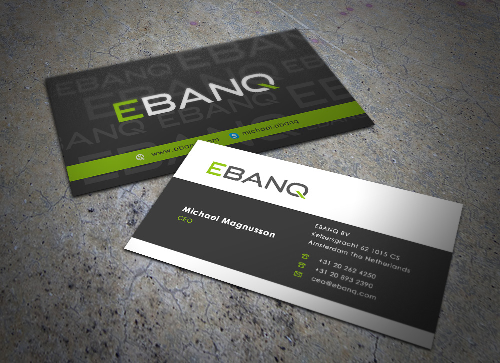 Modern professional financial business card design for ebanq business card design by eggo may p for ebanq fintech sl design 5098386 reheart Image collections