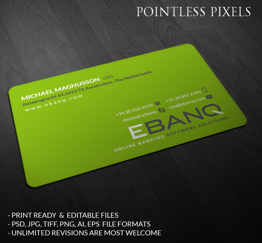 Modern professional financial business card design for ebanq business card design by pointless pixels india for ebanq fintech sl design 5106630 reheart Image collections