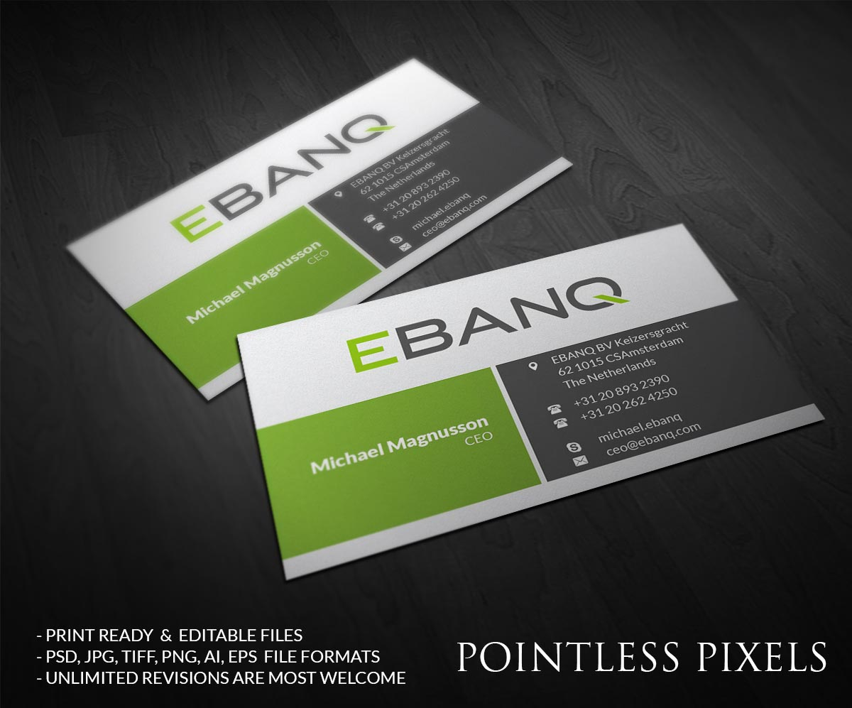 Modern professional financial business card design for ebanq business card design by pointless pixels india for ebanq fintech sl design 5126668 reheart Image collections