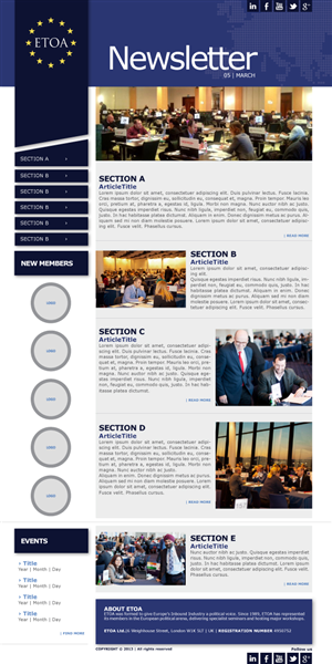 17 elegant serious communication newsletter designs for a for Corporate newsletter design inspiration
