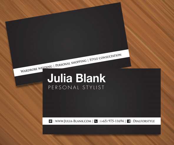 Elegant Playful Fashion Name Card Design For A Company In Singapore