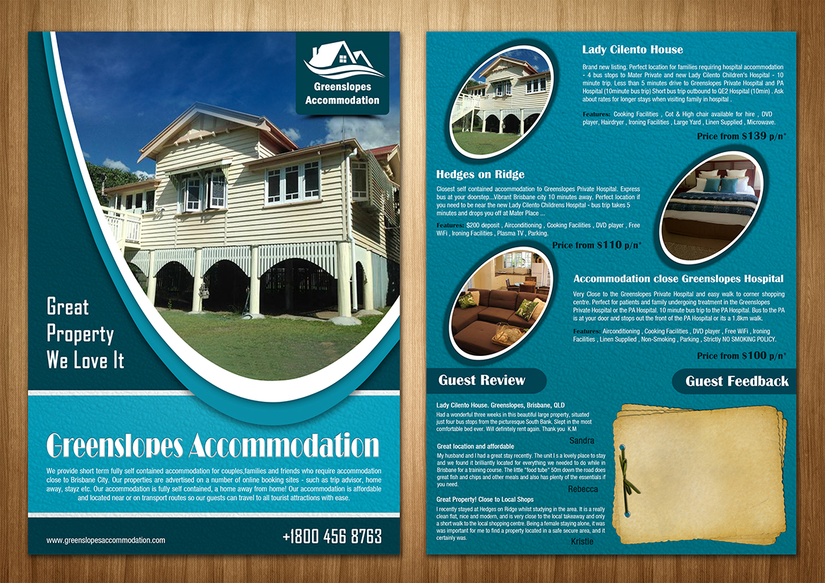 accommodation flyer design for a company by sd web creation design