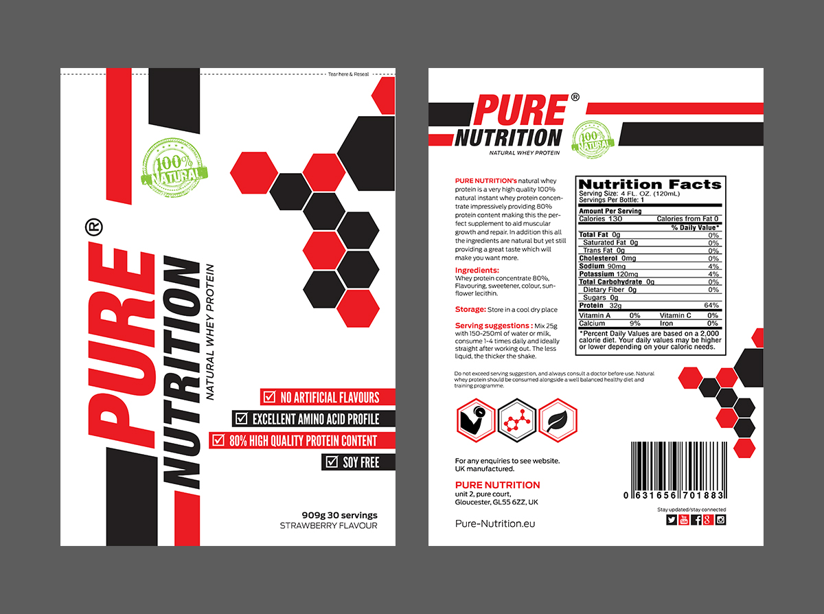 modern masculine nutrition label design for a company by umakantth
