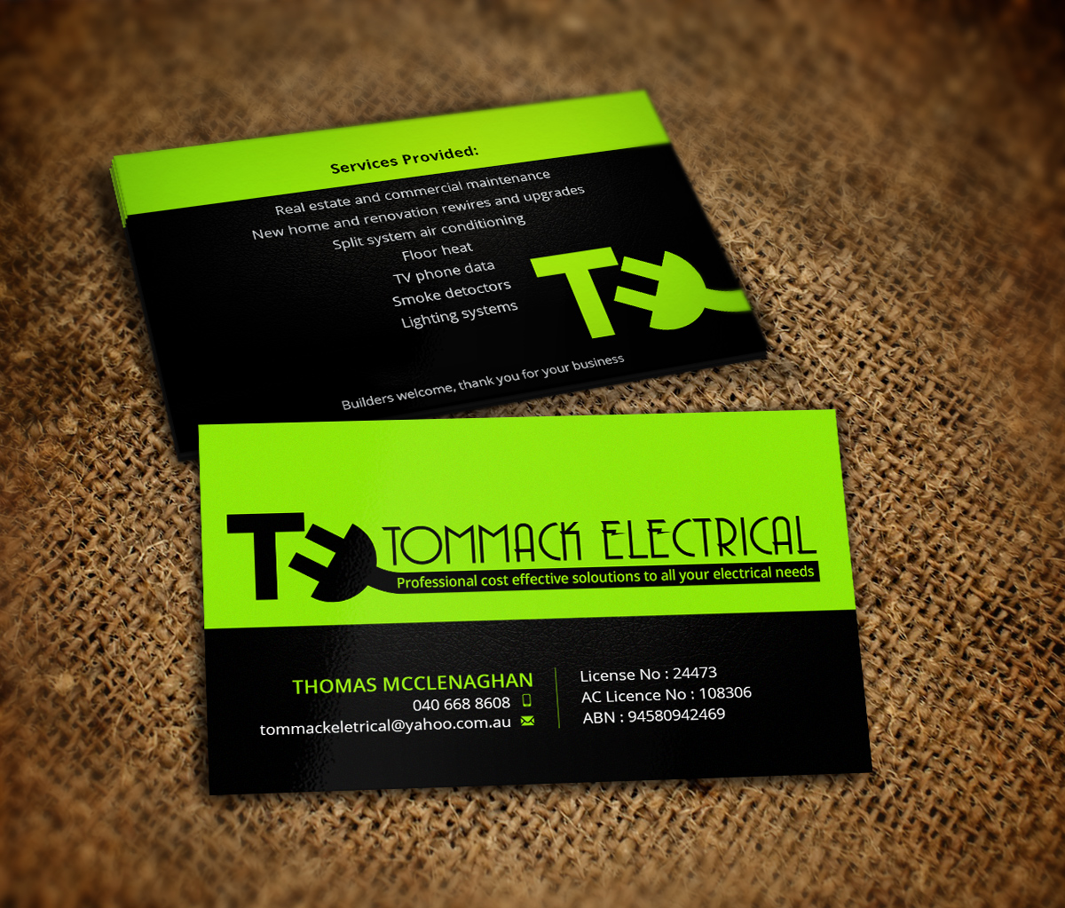 Business Card Design By Nelsur For Tommack Electrical 5159811