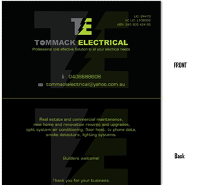 Business Card Design by Tahneit Khan - TOMMACK ELECTRICAL