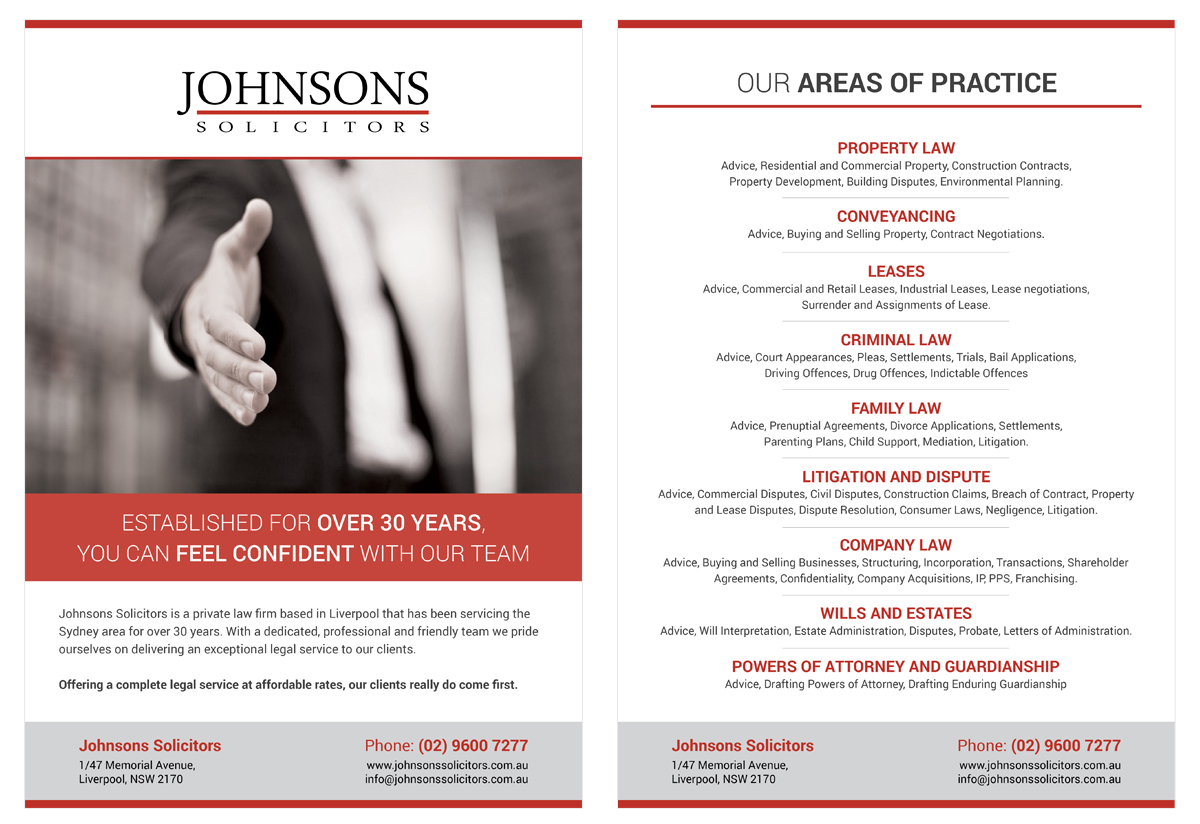 modern  serious  law firm flyer design for johnsons