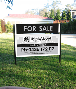 signage design for thinkabout real estate sign by designbe