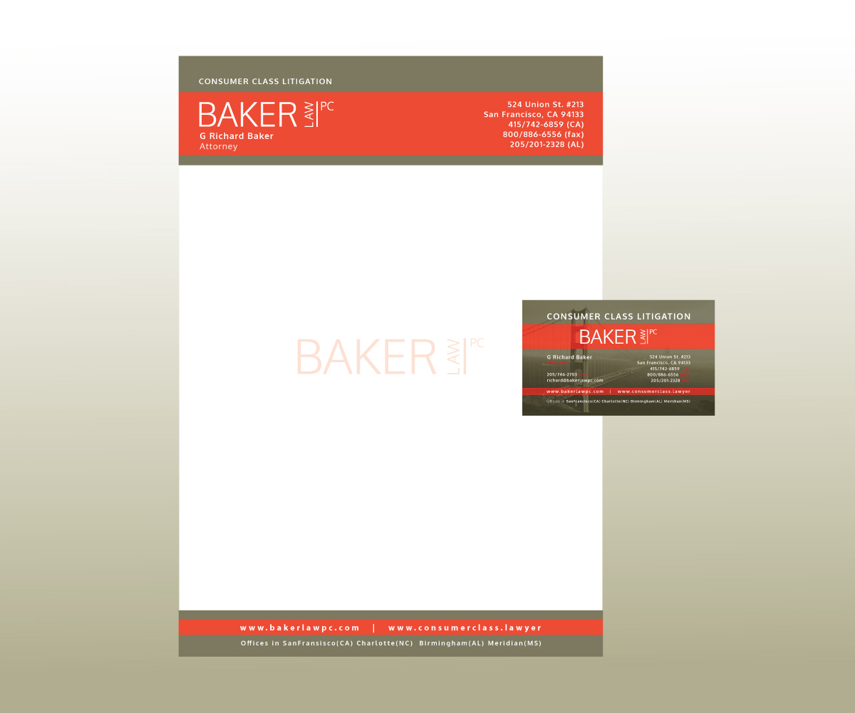 Letterhead Design for Baker law PC by GGV | Design #5254377