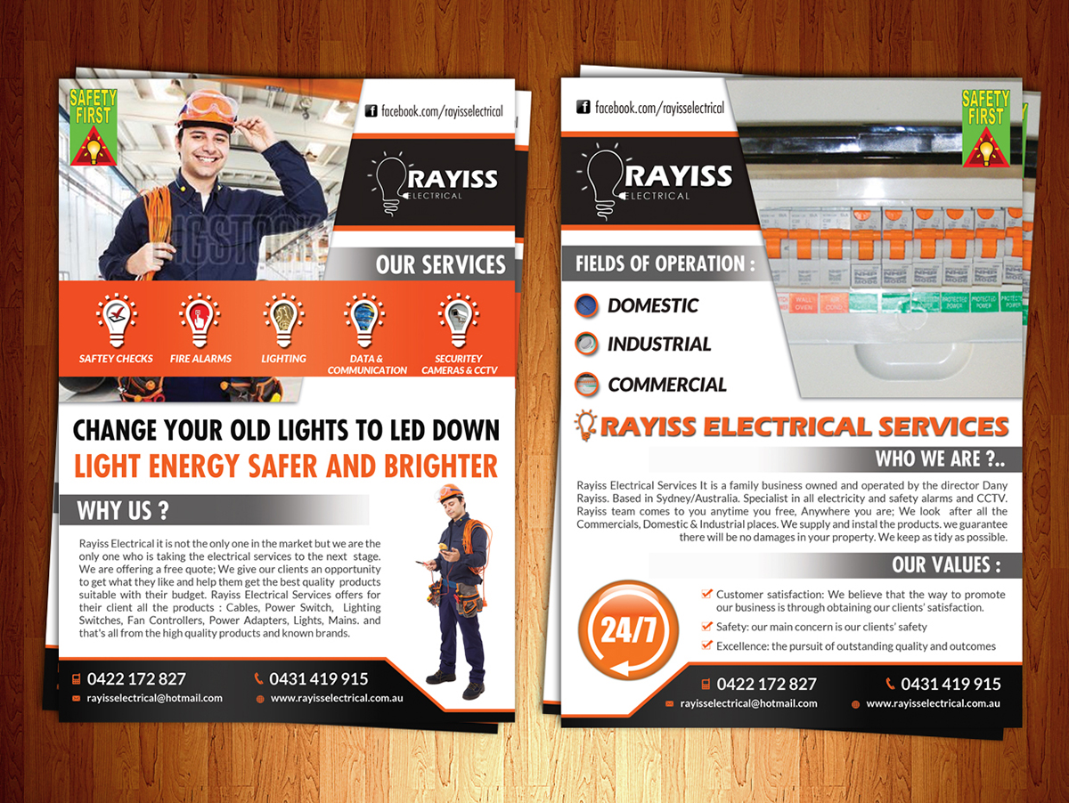 Flyer Design By ESolz Technologies For Size Rayiss Electrical Pty Ltd