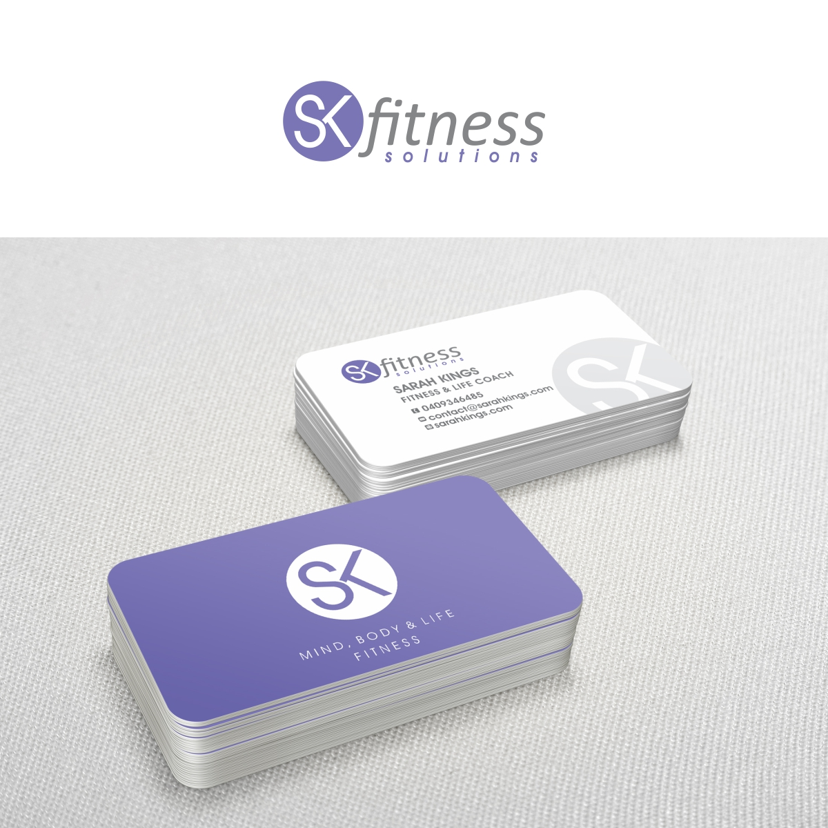 Business card design for sarah kings by nologo design for Health coach business card ideas